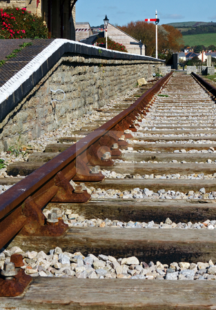 End of the Line stock photo, Old railway track and station at West Bay, Dorset by Robert Ford