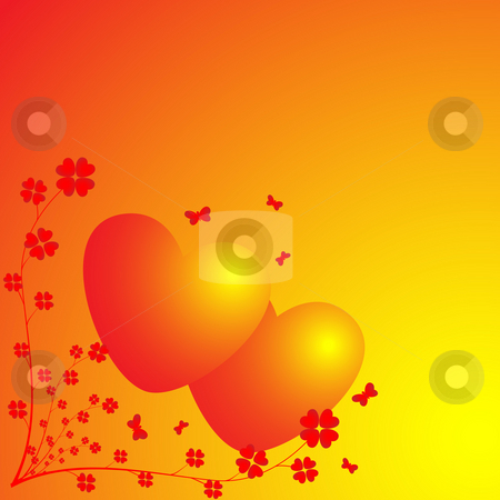 Two hearts on a light background stock photo, Two hearts and flowers on light background by Alina Starchenko