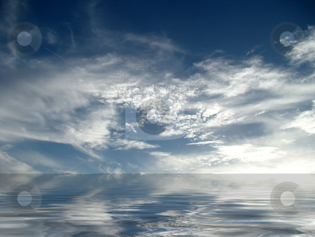 Cumulus cloudscape stock photo, Cumulus cloudsacpe reflecting in the ocean. by Gowtum Bachoo