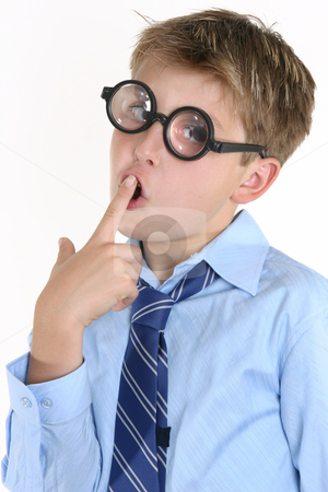 Comical Thinking Boy stock photo, A thinking boy humorous by Leah-Anne Thompson