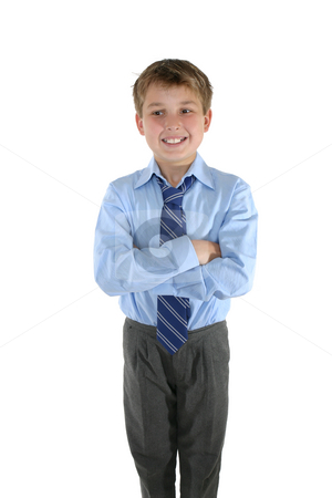 Casual Schoolboy stock photo, A student with crossed arms looks sideways, --  white background. by Leah-Anne Thompson