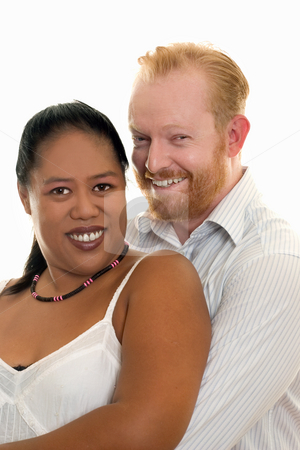 Happy Couple stock photo, Happy diversity couple smiling and looking ahead by Leah-Anne Thompson