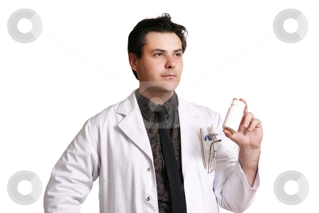 Doctor or pharmacist with a product stock photo, A doctor or pharmacist holding or recommending a medicine or supplement. by Leah-Anne Thompson