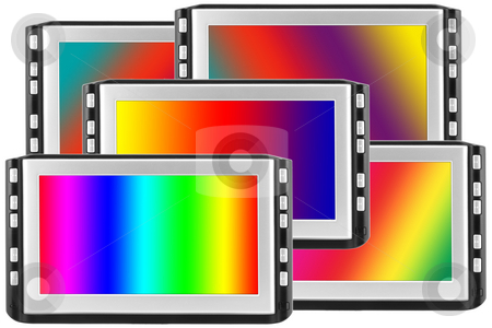 Displays with spectral screens stock photo, Some modern liquid crystals of displays with the image various light spectrums. by Aleksandr Volokov