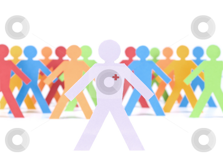 Paper doctor stock photo, A paper doctor stands in front of a multicolored crew. by Ignacio Gonzalez Prado