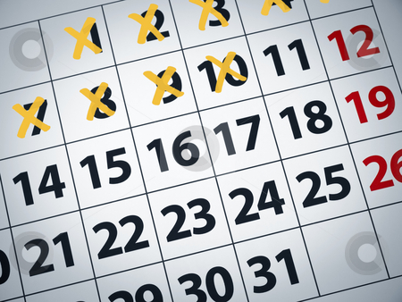Countdownt to D day stock photo, Close up of a calendar with some days crossed off. by Ignacio Gonzalez Prado