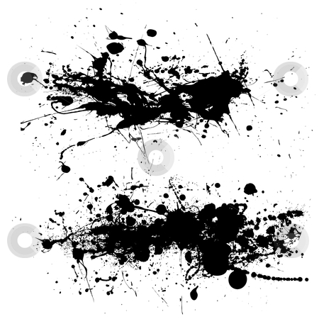 Splat dribble grunge stock vector clipart, Two ink splat designs with dribble and paint spots by Michael Travers