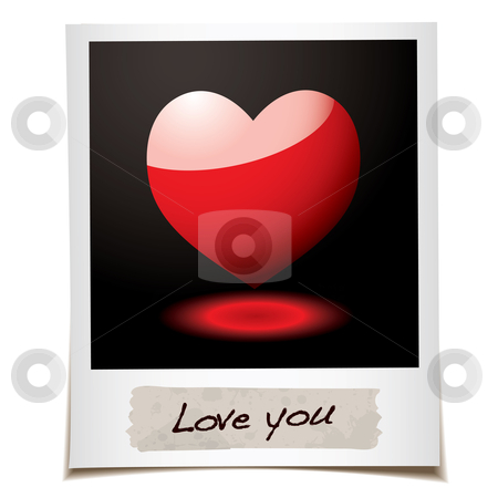 Love photo stock vector clipart, Instant photograph with red love heart and message by Michael Travers