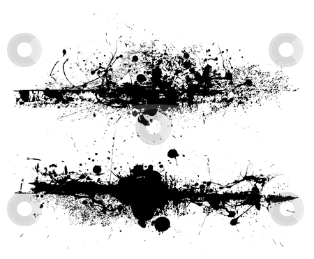 Drag grunge splat stock vector clipart, Black ink splat design with roller drag marks and splatter by Michael Travers