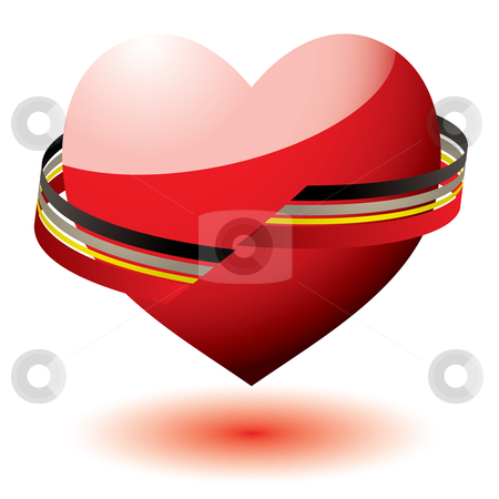 Love heart ribbon stock vector clipart, Red love heart icon with flowing ribbon and shadow by Michael Travers
