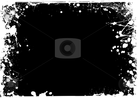 Thin grunge negative stock vector clipart, Black and white ink grunge background with thin frame by Michael Travers