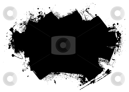Splat roller marks stock vector clipart, Grunge style black roller marks with ink splats and room for text by Michael Travers