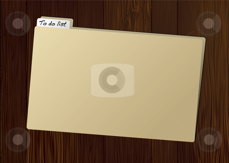 To do folder stock vector clipart, Brown folder with to do tag on wooden table by Michael Travers