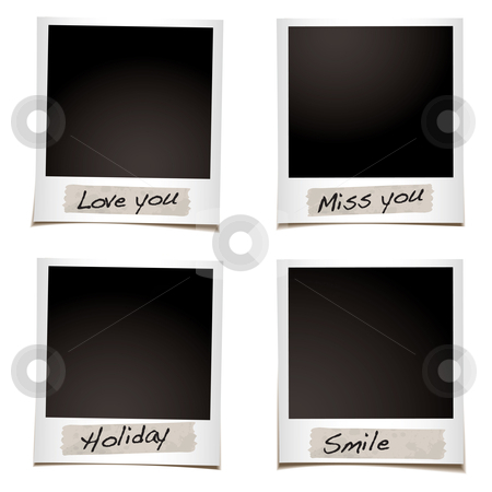 Phoro feelings stock vector clipart, Instant photograph with tape and special feelings hand written by Michael Travers