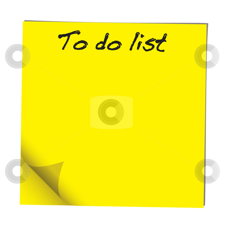 To do note stock vector clipart, Yellow stick note paper with to do list hand written by Michael Travers