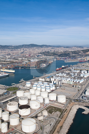 Industrial port stock photo, Barcelona's industrial port aerial view. by Anibal Trejo