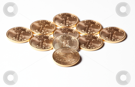 Diamond shaped gold coins on white stock photo, Solid gold eagle coins in the shape of a diamond by Steven Heap