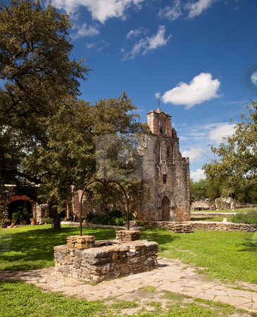 San Antonio Mission Espada in Texas stock photo, View of the garden and well in front of the Mission Espada near San Antonio in Texas by Steven Heap