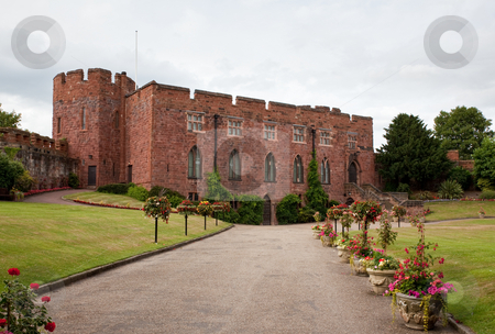 Shrewsbury Castle with floral driveway stock photo, Gravel drive to Shrewsbury Castle lined with flowers by Steven Heap