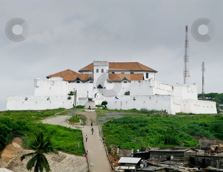 Elmina Castle in Ghana near Accra stock photo, Elmina Castle was the exit port for slaves from Ghana in Africa. This is the entrance to the fort by Steven Heap