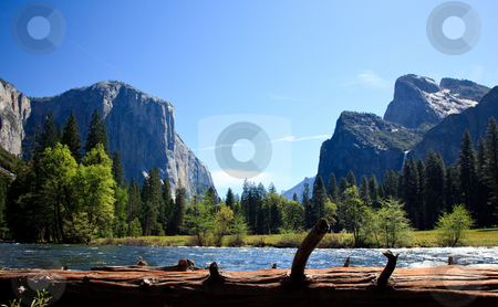 View into Yosemite Valley from Merced River stock photo, Cedar colored log frames the entrance into Yosemite Valley by Steven Heap