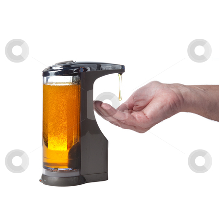 Soap being dispensed into hand stock photo, Soap or detergent being dispensed into male hand prior to hand washing by Steven Heap
