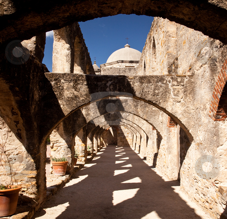 Arches of San Jan Mission near San Antonio stock photo, View of the arches leading to the San Juan Mission in San Antonio by Steven Heap