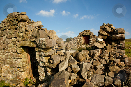 Old farm building collapsed with age stock photo, Dry stone wall farm building in ruins by Steven Heap