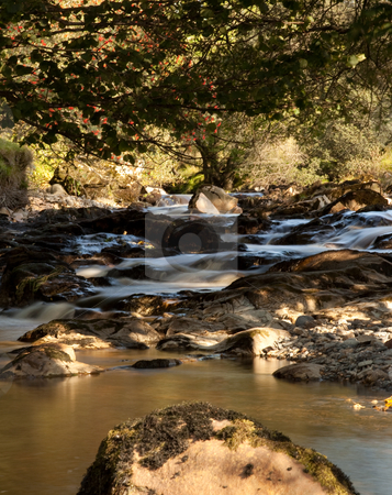 Slow motion water in small river stock photo, Brown colored water in small stream in valley by Steven Heap