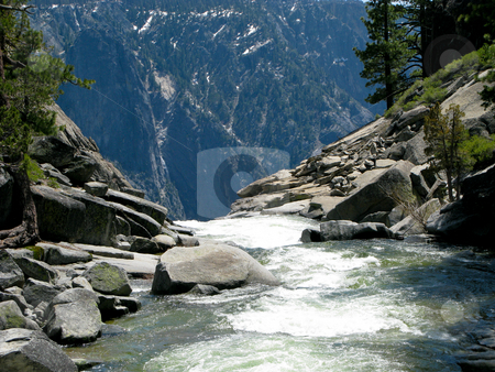 River dropping off edge of Yosemite Falls stock photo, Rushing river at top of Yosemite Falls prior to drop by Steven Heap