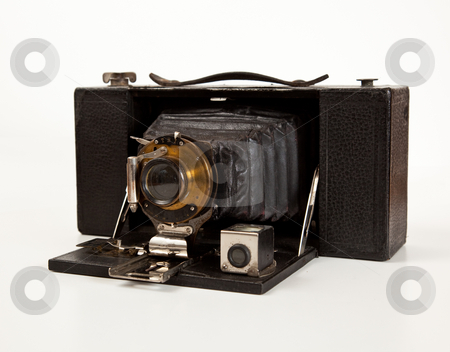Ancient Camera in front view stock photo, Antique bellows camera in side view isolated on white by Steven Heap