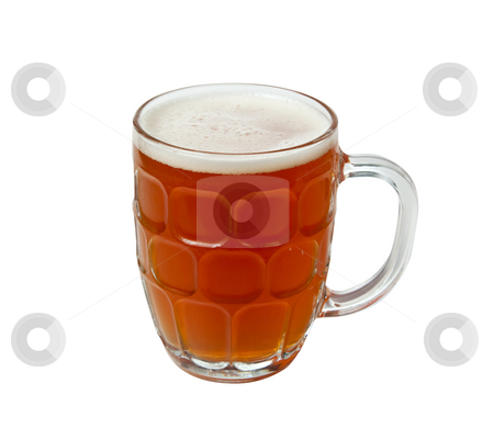 English Pint of golden ale stock photo, Golden brown beer in an English style pint mug with foamy head by Steven Heap