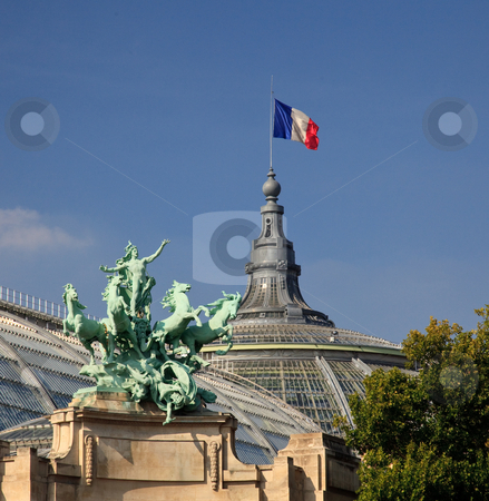 Grand Palais in Paris flying French flag stock photo, Grand Palais in Paris with green statue in foreground by Steven Heap