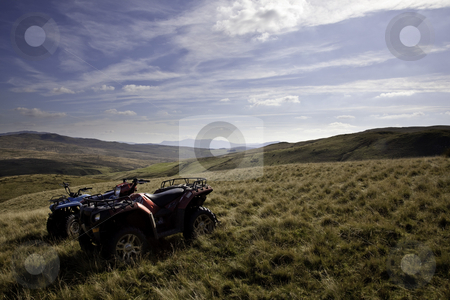 ATV quad bikes on Snowdonia mountain stock photo, Off road quad bikes on mountainside in remote Welsh valley by Steven Heap