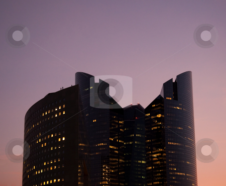 Modern office building at sunset stock photo, Modern skycraper office building at sunset at La Defense in Paris by Steven Heap