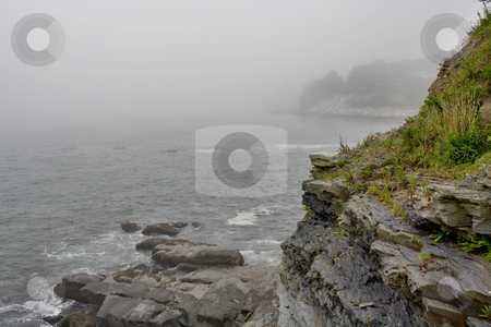 Foggy Ocean Coast stock photo, Foggy coast near Newport by Artur Staszewski