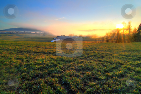 Norwegian countryside  stock photo, HDR photo of a foggy landscape in Lifjell,southern Norway. by Kjersti Jorgensen