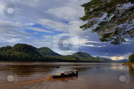 Mekong river  stock photo, View over the Mekong river, Luang Prabang by Kjersti Jorgensen