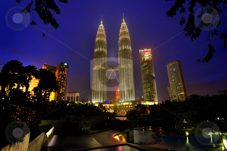 Petronas twin towers  stock photo, Nightscene of the twin towers in Kuala Lumpur by Kjersti Jorgensen