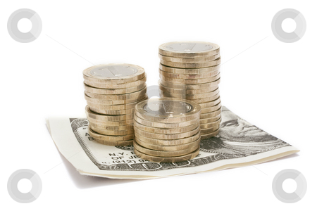 Pile of coins with dollar  stock photo, Pile of coins with dollar isolated by Ivaylo Ivanov