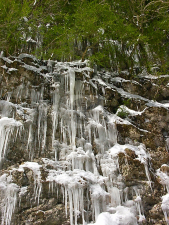Frozen waterfall stock photo, The unexpected frost in the spring in mountains has frozen waterfall by Vadim Tsyba