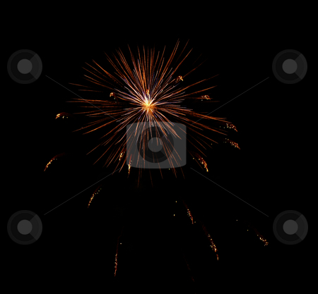 Fireworks explosion stock photo, Multicolour trace from explosion of fireworks at night sky by Vadim Tsyba