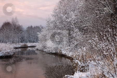 Winter river scene stock photo, Winter river scene by Turo Jantunen