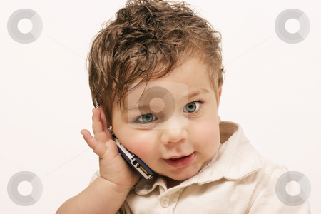 Toddler Talk stock photo, Toddlerand phone by Leah-Anne Thompson