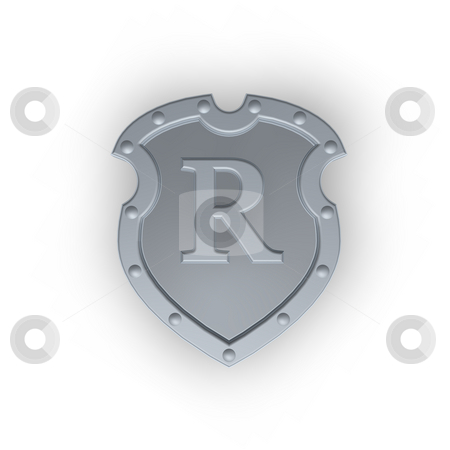 Shield with letter R stock photo, Metal shield with letter R on white background - 3d illustration by J?