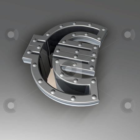 Metal euro symbol stock photo, Riveted metal euro sign  - 3d illustration by J?
