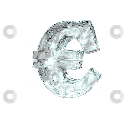 Frozen euro stock photo, Frozen euro sign on white background - 3d illustration by J?