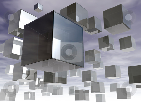 Glass cubes stock photo, Floating glass cubes in the sky - 3d illustration by J?