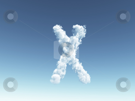 Cloudy letter X stock photo, Clouds forms the uppercase letter X in the sky - 3d illustration by J?