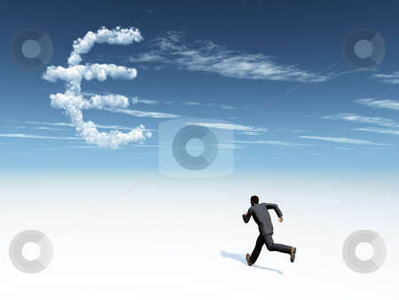 Money stock photo, Running man and cloudy euro symbol in the sky - 3d illustration by J?